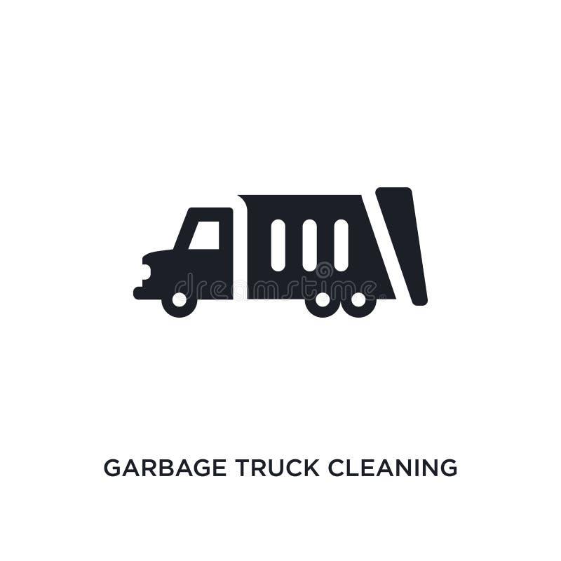 camion di immondizia che pulisce icona isolata illustrazione semplice dell'elemento dalle icone di pulizia di concetto pulizia de illustrazione di stock