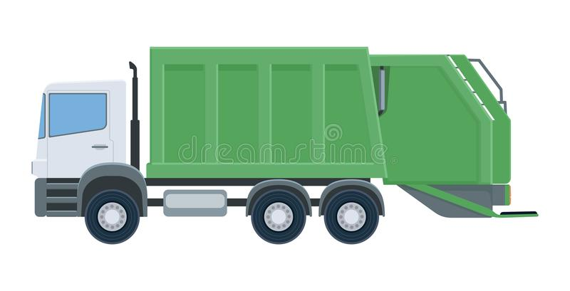 Camion di immondizia isolato su fondo bianco illustrazione vettoriale