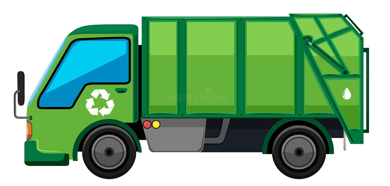 Camion di immondizia nel colore verde illustrazione vettoriale