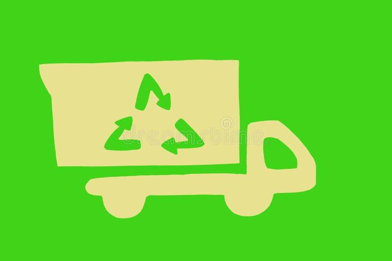 Camion di immondizia verde illustrazione di stock