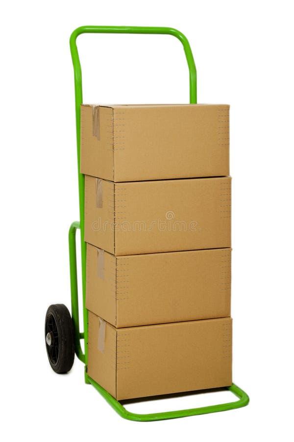 Camion di mano con i pacchetti fotografia stock libera da diritti