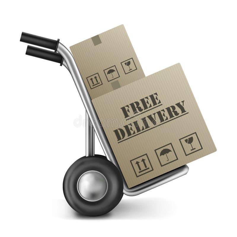 Camion di mano libero della scatola di cartone di consegna illustrazione vettoriale