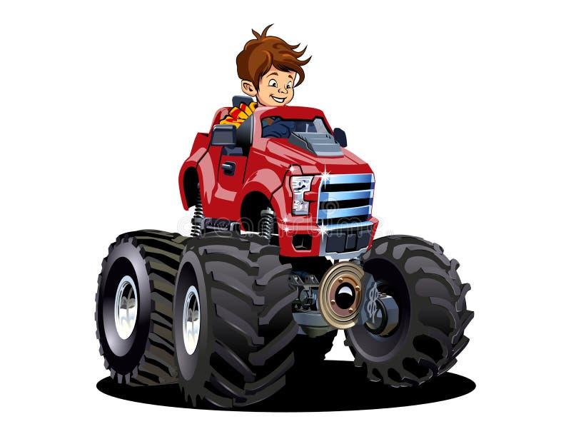 Camion di mostro del fumetto con il driver isolato su bianco royalty illustrazione gratis