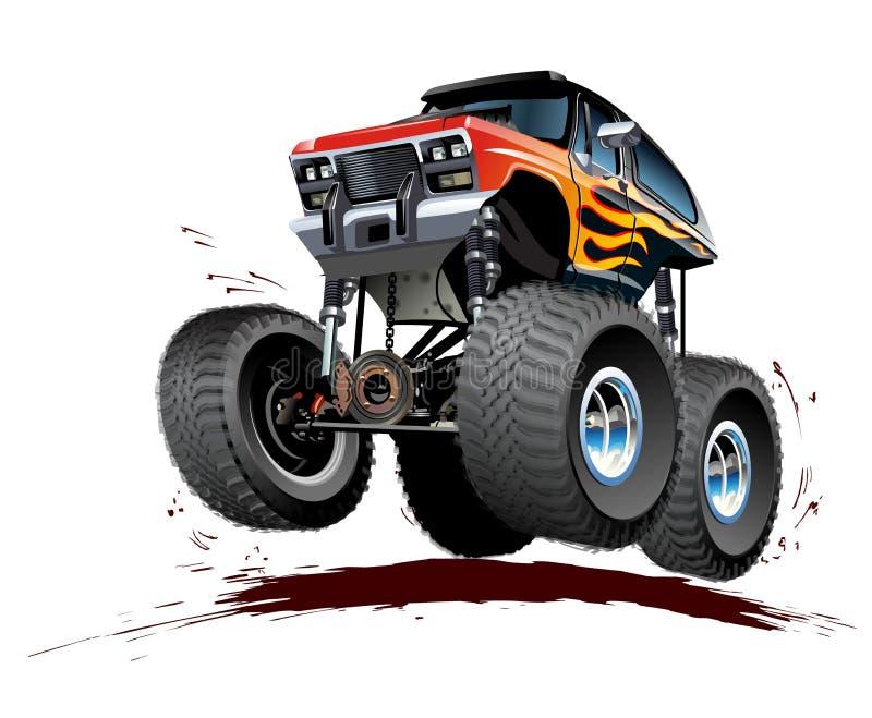 Camion di mostro del fumetto isolato su fondo bianco illustrazione vettoriale