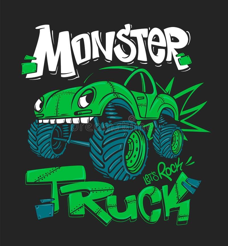Camion di mostro Illustrazione di vettore per le stampe della maglietta illustrazione di stock