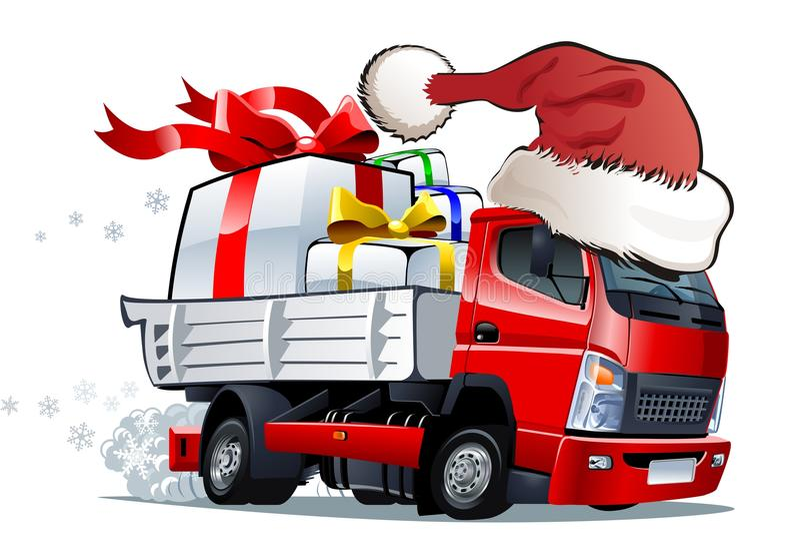 Camion di natale del fumetto illustrazione di stock