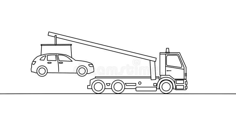 Camion di rimorchio che prende un veicolo, su fondo bianco illustrazione di stock