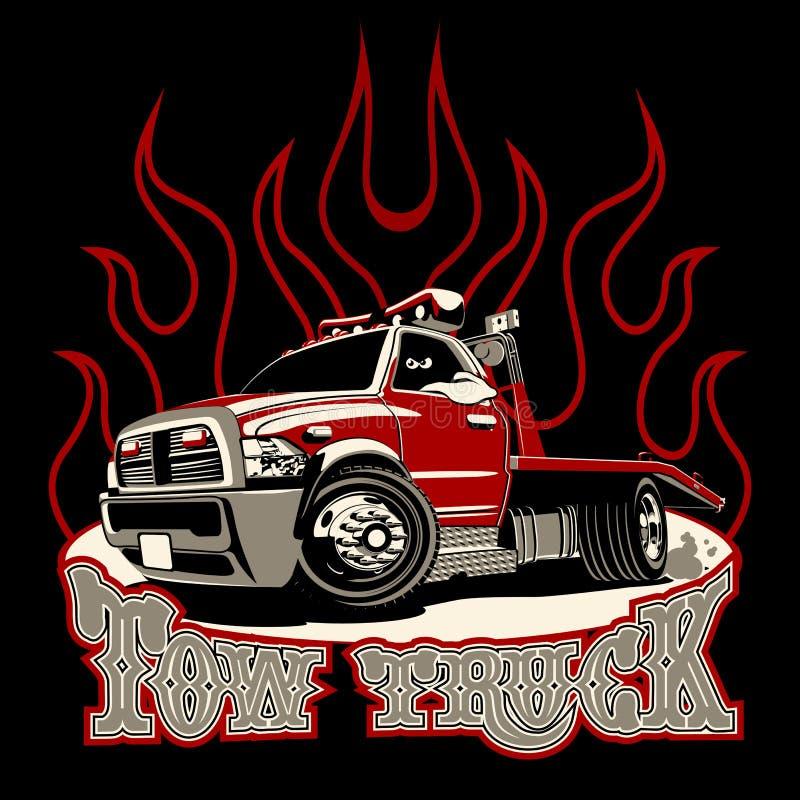 Camion di rimorchio del fumetto isolato su fondo nero illustrazione di stock