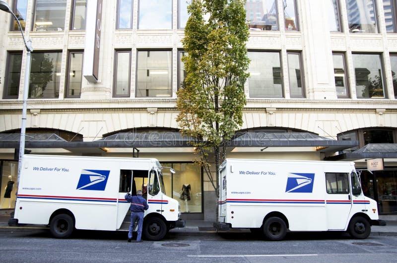 Camion di servizio postale di USPS fotografia stock libera da diritti