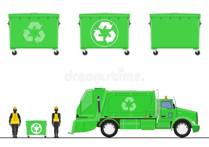 Camion e bidoni della spazzatura di immondizia verdi royalty illustrazione gratis