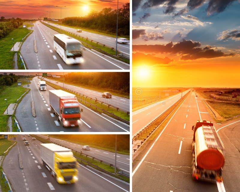 Camion e bus sulla strada principale al tramonto - collage immagini stock
