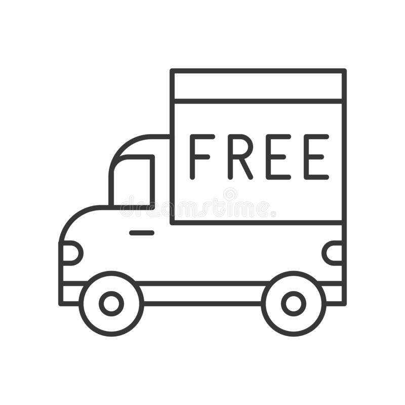 Camion ed alfabeto libero a bordo, linea consegna dell'icona logistica con riferimento a illustrazione vettoriale
