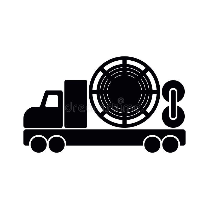 Camion enroulé de tuyauterie d'isolement ; icône plate noire de vecteur pour l'huile et illustration stock