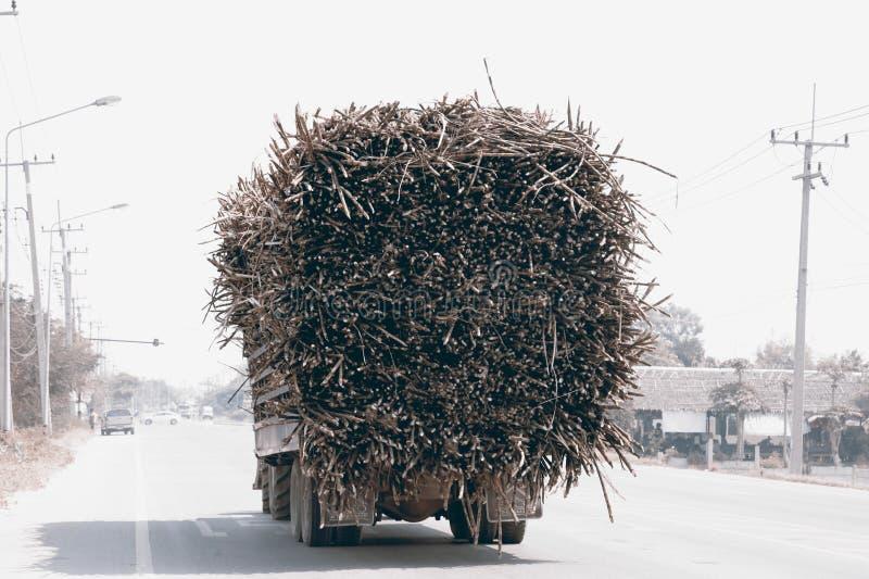 Camion entièrement chargé de canne à sucre dans une route images libres de droits