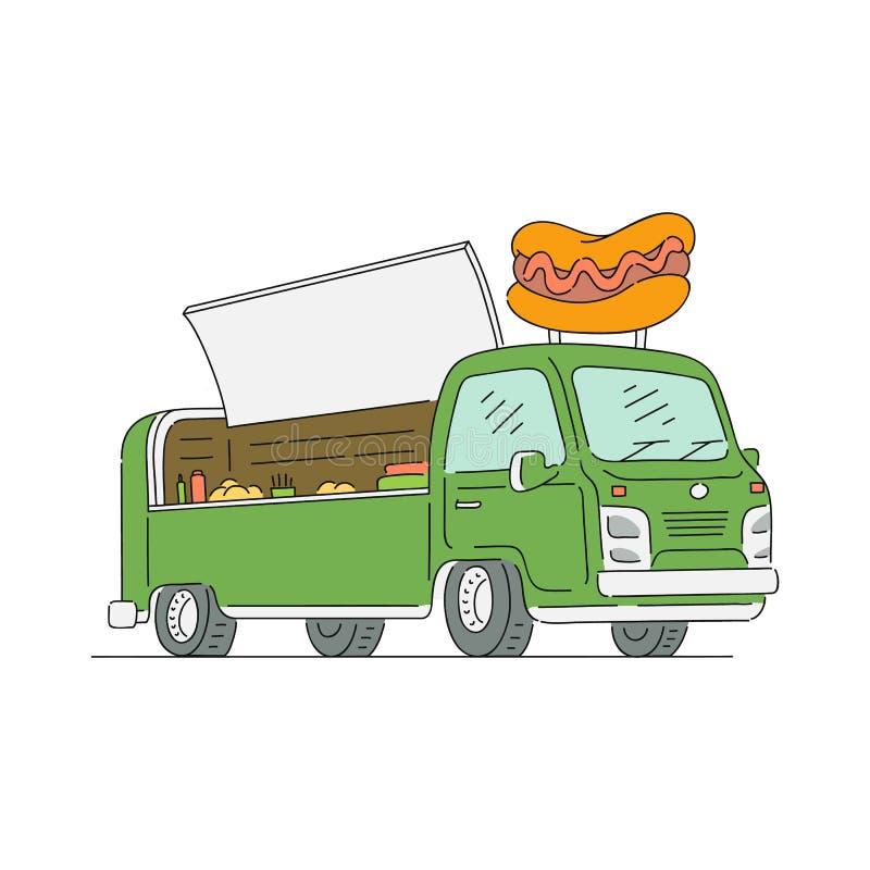 Camion et fourgon d'aliments de préparation rapide de rue avec le hot-dog illustration libre de droits