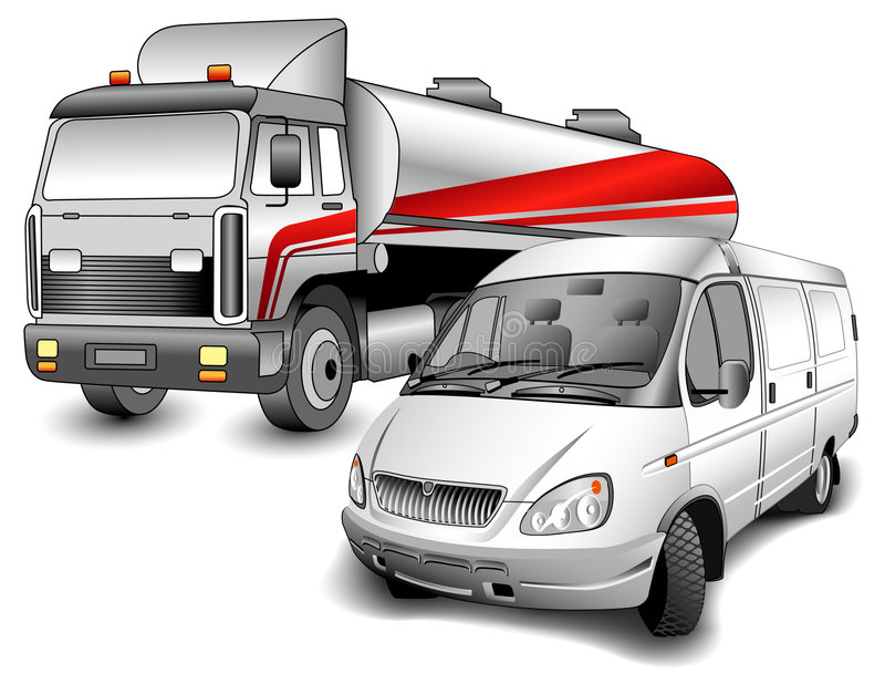 Camion et minibus illustration stock