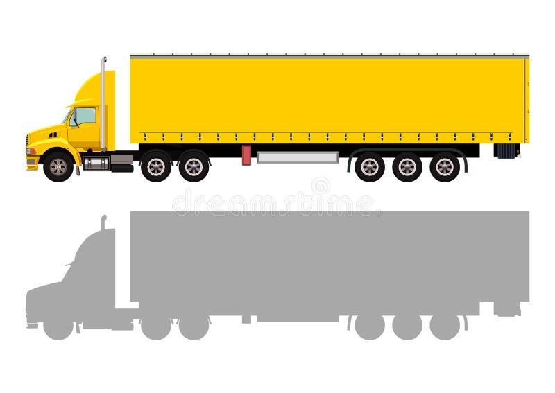 Camion giallo con un rimorchio illustrazione di stock