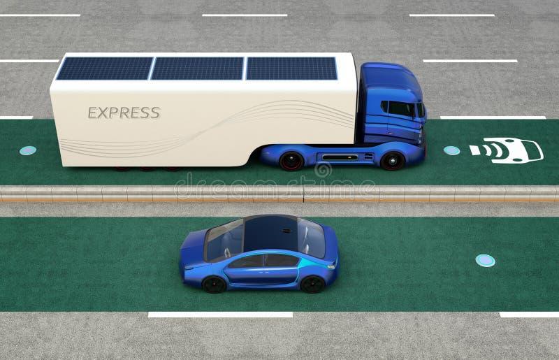 Camion hybride et voiture électrique bleue sur la ruelle de remplissage sans fil illustration de vecteur