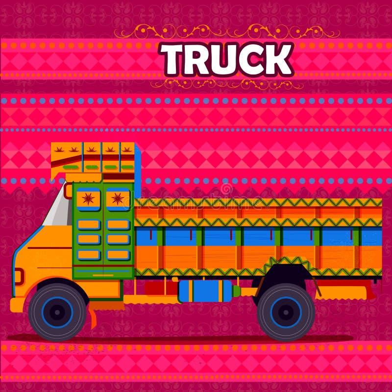 Camion indien représentant l'Inde colorée illustration de vecteur