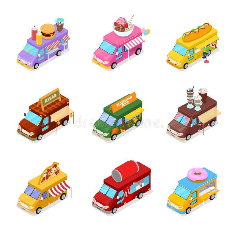 Camion isométrique de nourriture de rue réglé avec la nourriture de Vegeterian, l'hamburger, le chiche-kebab, le hot-dog et le ca illustration stock