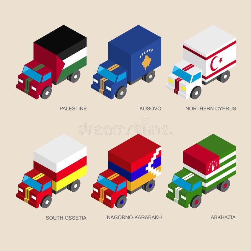 Camion isometrici del carico 3d con illustrazione di stock