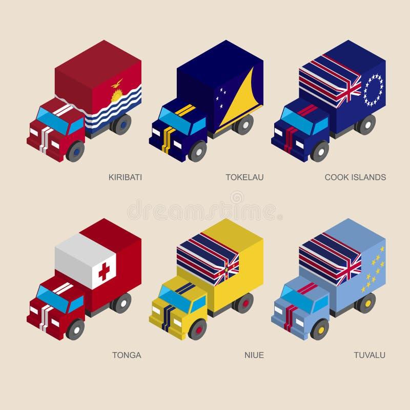 Camion isometrici del carico 3d con illustrazione vettoriale