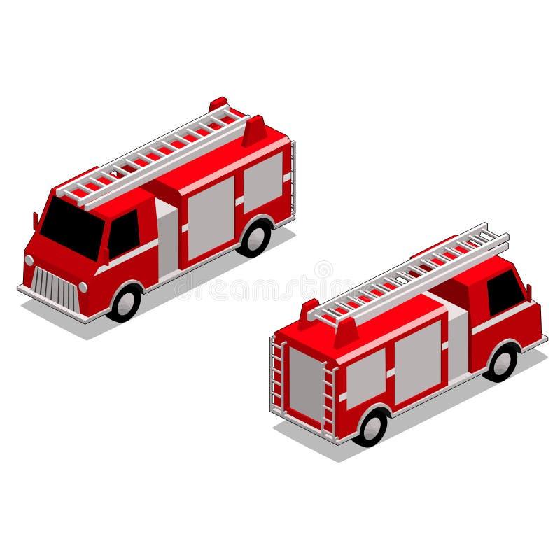 Camion isometrico del pompiere nel fondo bianco isolato illustrazione vettoriale