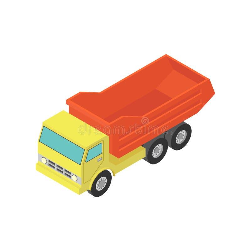 Camion- jaune isométrique sur le blanc images stock