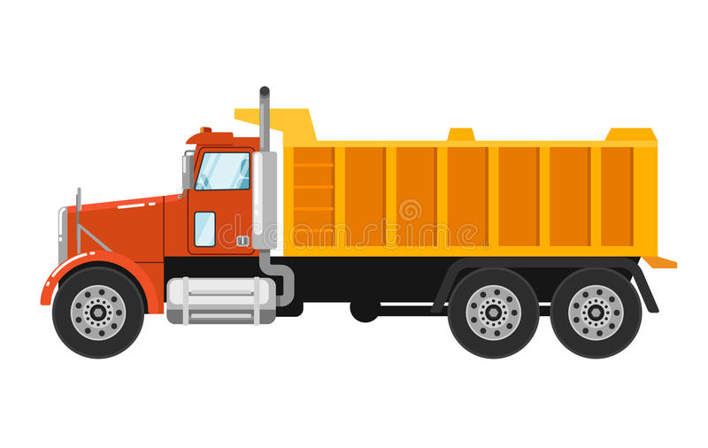 Camion- lourd d'isolement sur le fond blanc illustration libre de droits