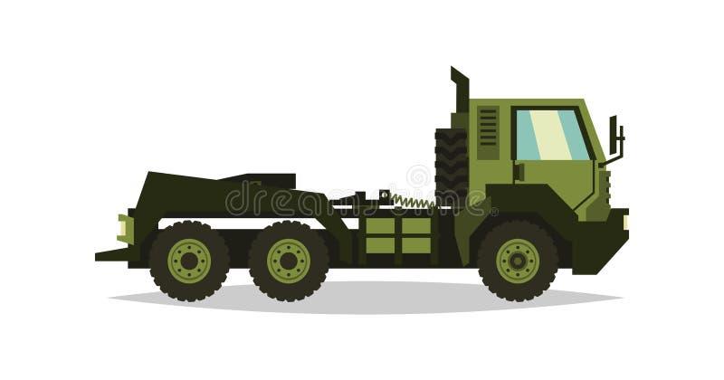 Camion militare L'automobile in questione nel combattimento Trasporto di macchinario pesante Strumentazione speciale diesel Vetto illustrazione vettoriale