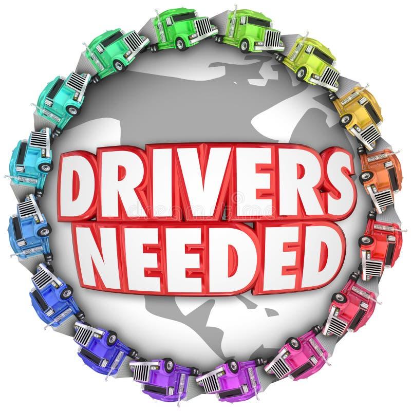 Camion necessari dei driver intorno al noleggio internazionale del camionista del mondo illustrazione vettoriale