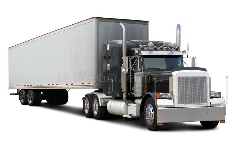 Camion nero Peterbilt fotografia stock