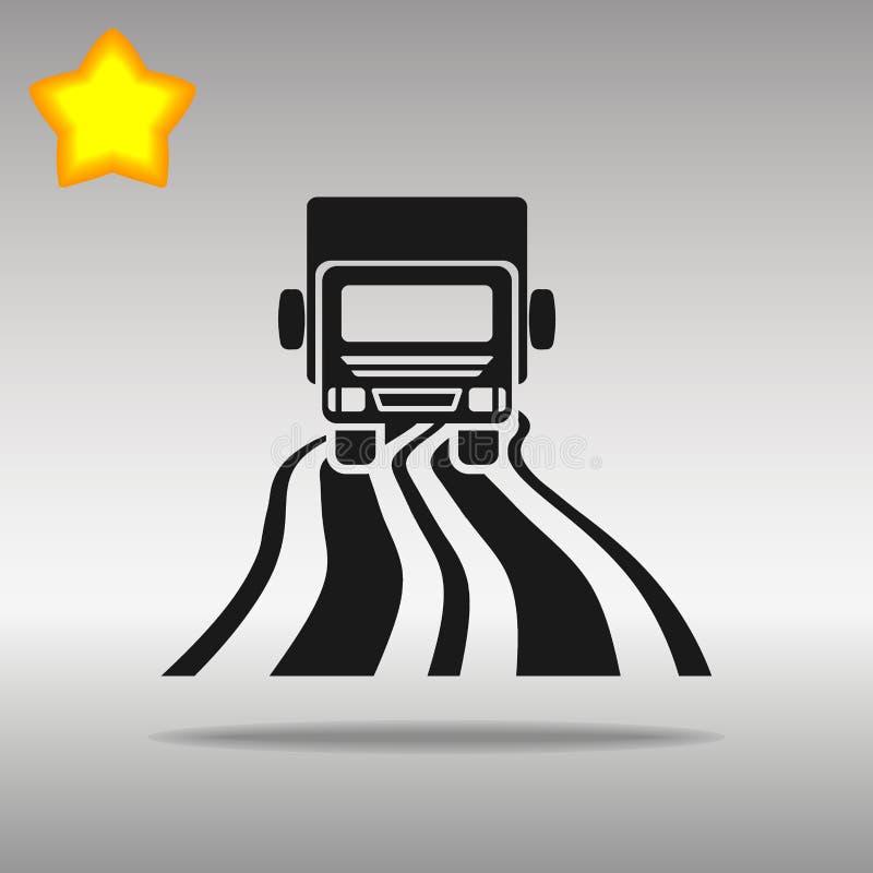 Camion noir sur le concept de symbole de logo de bouton d'icône de route de haute qualité image libre de droits