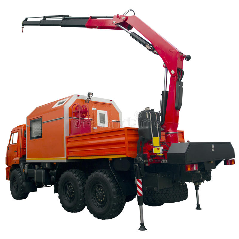 Camion orange de réparation avec la grue photographie stock libre de droits