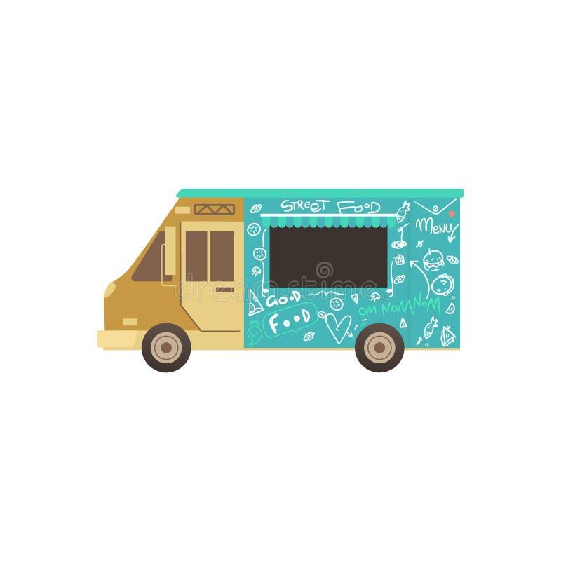 Camion ou fourgon de nourriture pour FLB la livraison de la nourriture de rue, concept extérieur de festival de nourriture d'été illustration de vecteur