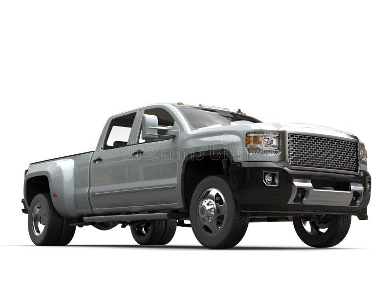 Camion pick-up métallique argenté - tir d'angle faible image stock