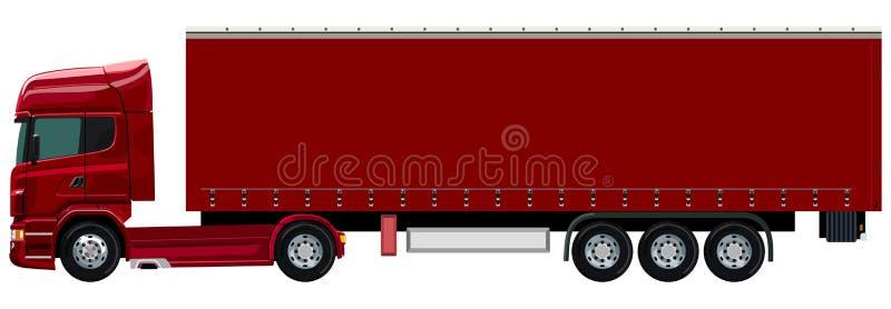 Camion rosso con un rimorchio illustrazione vettoriale