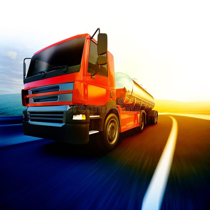 Camion rosso dei semi sulla strada asfaltata confusa sotto il cielo ed i soli di sera illustrazione vettoriale
