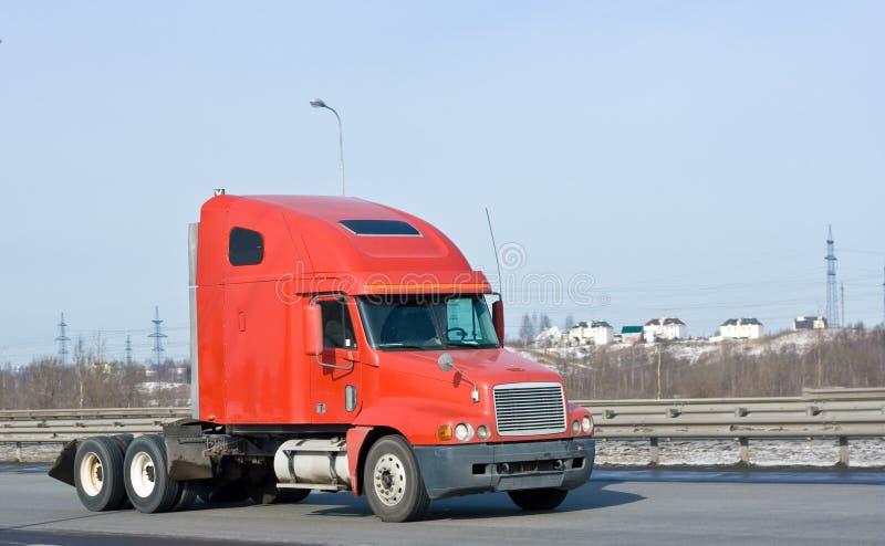 Camion rosso del trasportatore dei miei camion e veicolo di affari fotografia stock