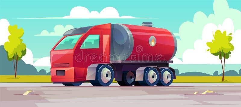 Camion rosso di vettore con benzina in carro armato illustrazione vettoriale