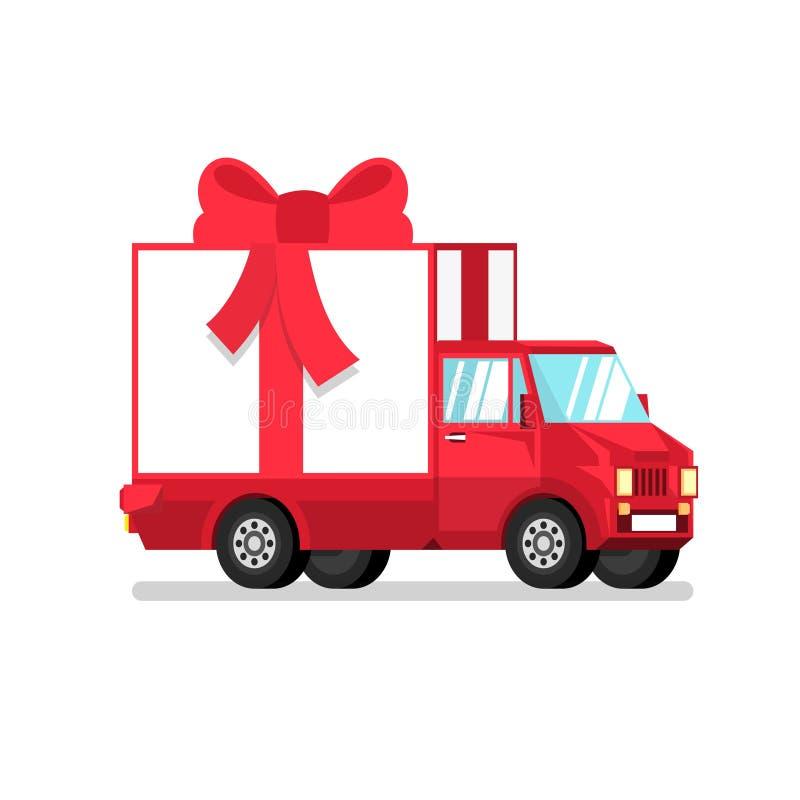 Camion rouge d'isolement avec le boîte-cadeau au demi tour illustration stock