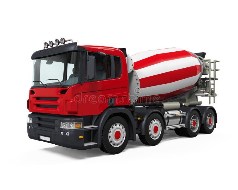 Camion rouge de mélangeur concret illustration stock