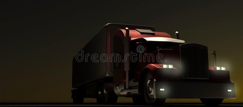 Camion rouge de style américain la nuit Semi camion avec la remorque de cargaison rendu 3d illustration libre de droits