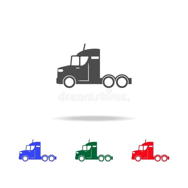Camion sans icônes de remorque Éléments d'élément de transport dans les icônes colorées multi Icône de la meilleure qualité de co illustration stock