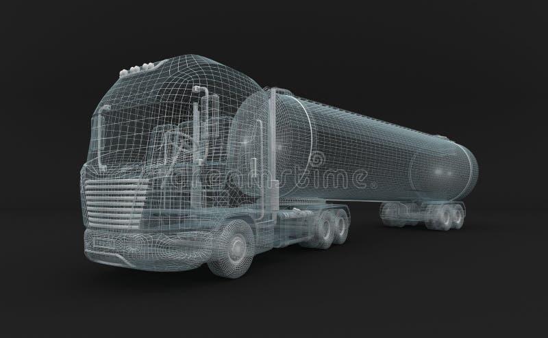 Camion Semitransparent del tanket del combustibile. illustrazione vettoriale