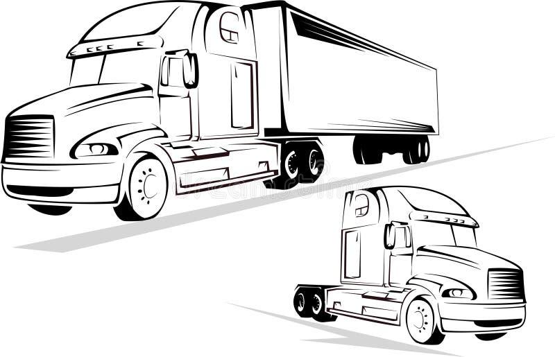Camion su una priorità bassa bianca illustrazione di stock