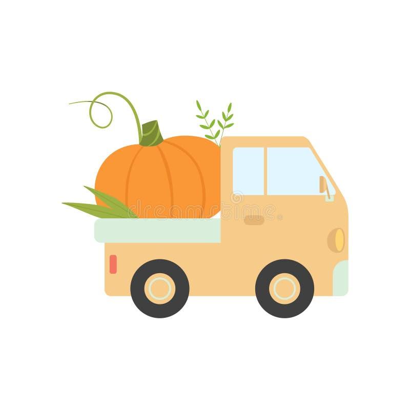 Camion sveglio che consegna zucca, vista laterale, spedizione dell'illustrazione fresca di vettore delle verdure del giardino illustrazione vettoriale