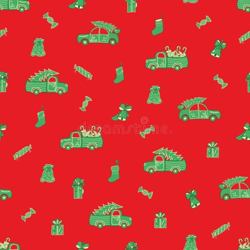 Camiones, coches, regalos de la Navidad y modelo de los caramelos libre illustration