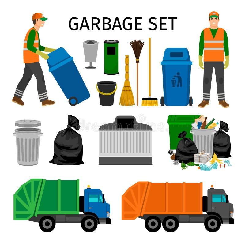 Camiones de basura, bote de basura y barrendero ilustración del vector