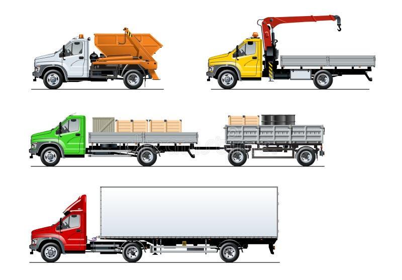 Camiones de espec. del vector fijados aislados en blanco ilustración del vector